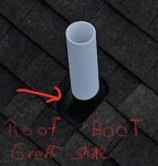 Drone Pic of the vent boot on a roof that is 4 stories high. Note how well it can be seen